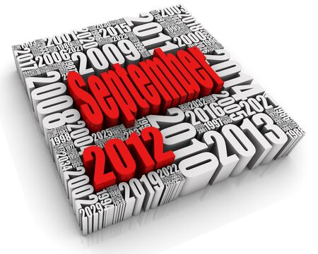 3D text with month surrounded by past and future dates. Part of a calendar set. Stock Photo - 13895371