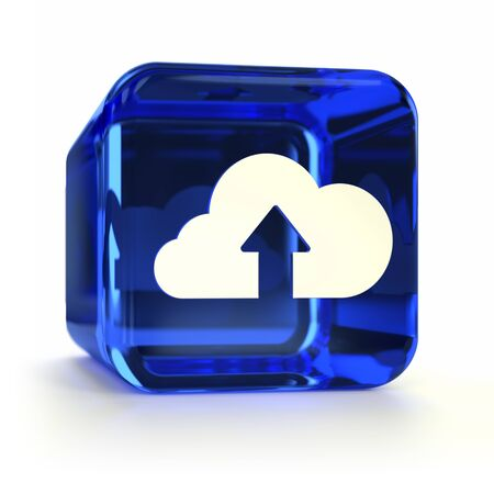Blue glass cloud submit computer icon. Part of an icon set. photo