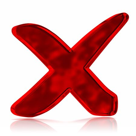 red x: Red glass cross mark symbol. Part of a series.