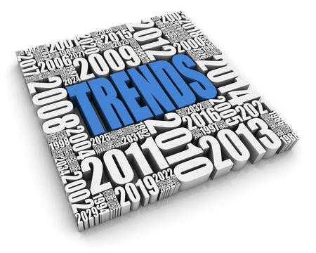 TRENDS 3D text surrounded by calendar dates. Part of a series. Stock Photo