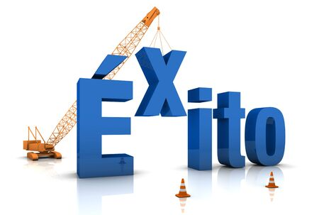 Spanish language: EXITO 3D word under construction. Part of a series. Stock Photo