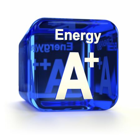 energy efficiency: Blue energy efficiency A+ rating computer icon. Part of an icon set.