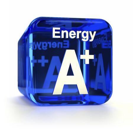 eficiencia energetica: La eficiencia energética Azul calificación A + icono de la computadora. Parte de un conjunto de iconos.