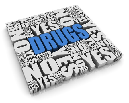substance: DRUGS 3D text surrounded by YES and NO words  Part of a series  Stock Photo