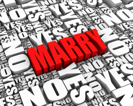 MARRY 3D text surrounded by YES and NO words  Part of a series Stock Photo - 13895370