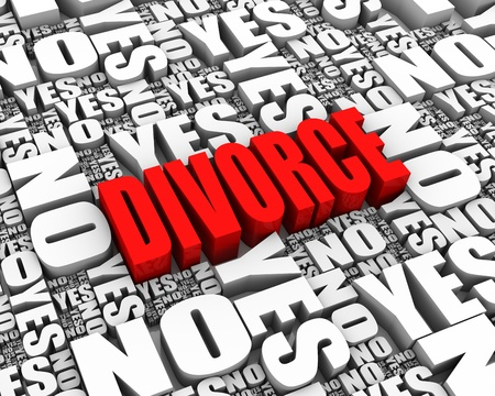 DIVORCE 3D text surrounded by YES and NO words  Part of a series  Stock Photo - 13895373