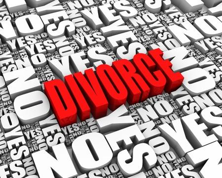 conflictos sociales: DIVORCIO de texto en 3D rodeado de SI y NO parte de una serie de palabras Foto de archivo