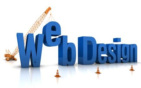 Construction site crane building Web Design 3D words