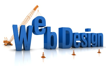 web page under construction: Construction site crane building Web Design 3D words