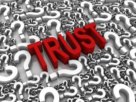 TRUST 3D text surrounded by question marks  Part of a series  Stock Photo - 13895402