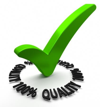 control de calidad: Marca de verificaci�n verde con la parte de texto en 3D de una serie