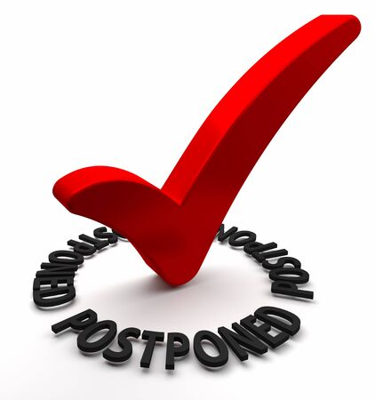 postponed: Red check mark with 3D text  Part of a series  Stock Photo