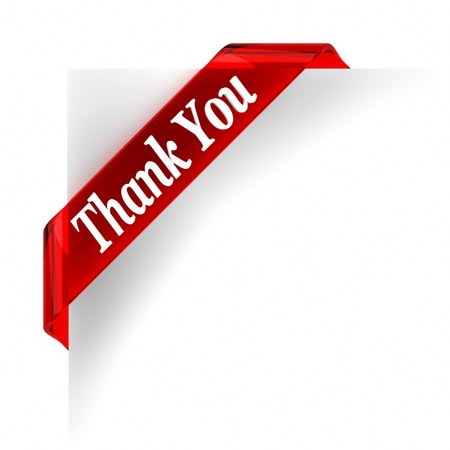 thank you: Red glass top banner  Part of a series  Stock Photo