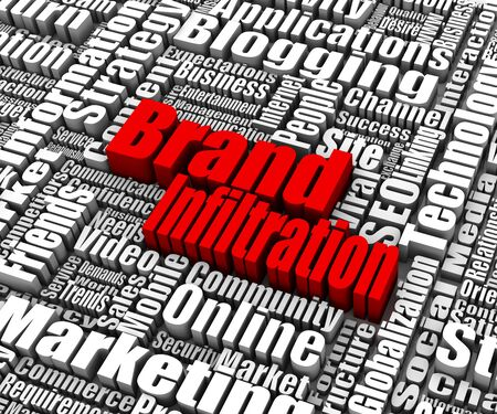 infiltration: Brand Infiltration related words. Part of a business concept series. Stock Photo