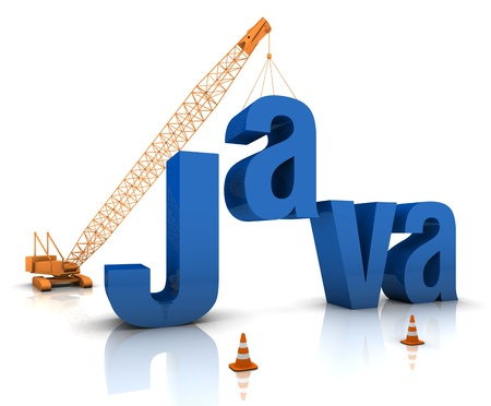 Construction site crane building a blue Java 3D text. Part of a series.