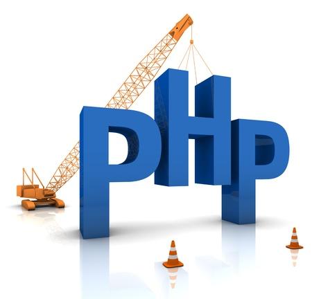 Construction site crane building a blue PHP 3D text. Part of a series.