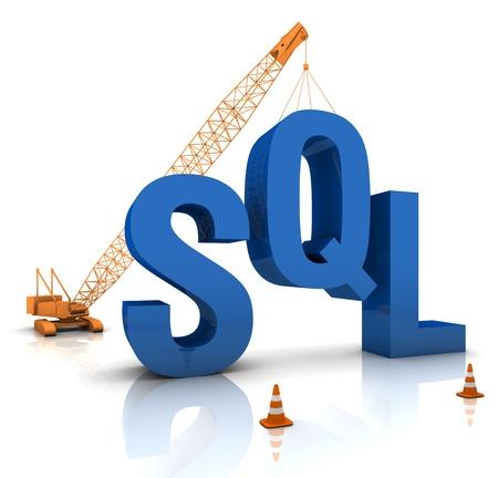 sql: Construction site crane building a blue SQL 3D text. Part of a series. Stock Photo