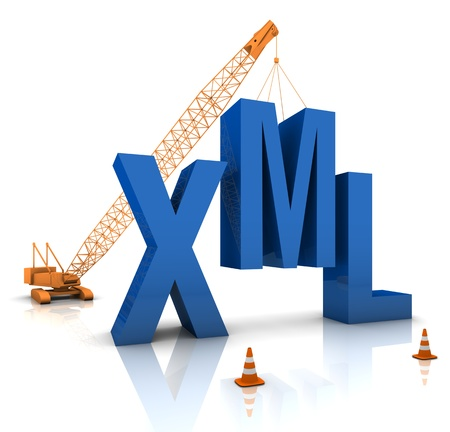 Construction site crane building a blue XML 3D text. Part of a series. photo
