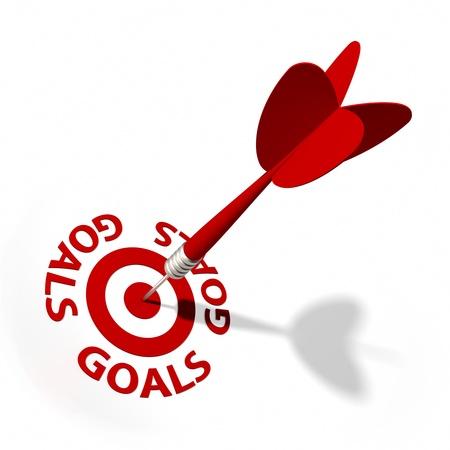 doelen: Target en dart met ronde tekst. Een deel van een reeks. Stockfoto