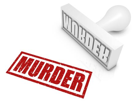 murdering: MURDER rubber stamp. Part of a series of stamp concepts.