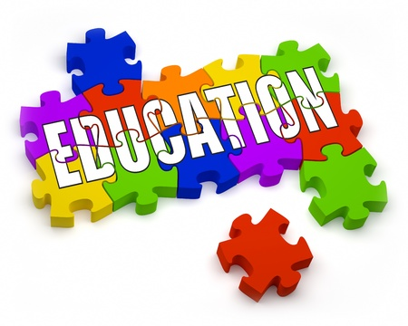 onderwijs: 3D puzzelstukjes met tekst deel van een reeks