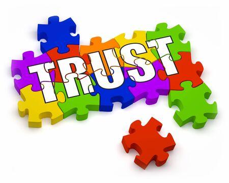 confianza concepto: Piezas de puzzle en 3D con la parte de texto de una serie