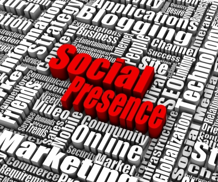 Group of Social Presence related words  Part of a business concept series  Stok Fotoğraf