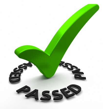 passed: Green check mark with 3D text  Part of a series  Stock Photo
