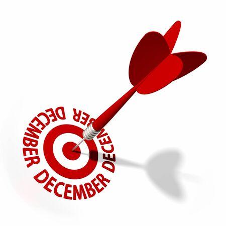 calendario diciembre: Target y el dardo con la parte circular de texto de una serie
