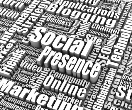 presence: Group of Social Presence related words. Part of a business concept series.