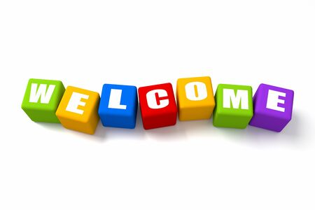 Welcome colored cubes. Part of a series. Stock Photo - 16924744