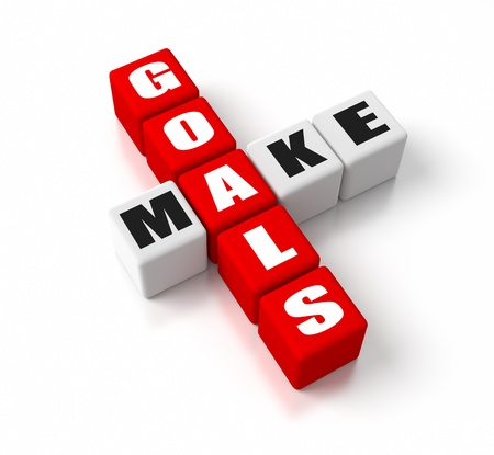 crossword puzzle: Make Goals crosswords. Part of a business concepts series. Stock Photo