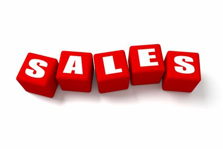 buzzwords: Sales Red cubes. Part of a series. Stock Photo