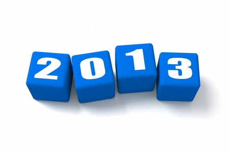 buzzwords: New Year 2013 on Blue cubes Stock Photo