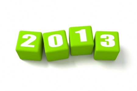 buzzwords: New Year 2013 on Green cubes Stock Photo