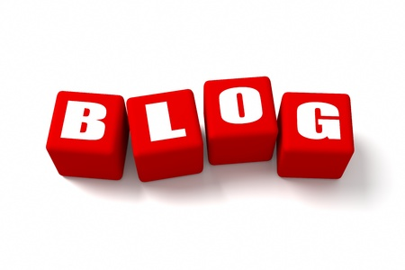 BLOG word on Red cubes photo