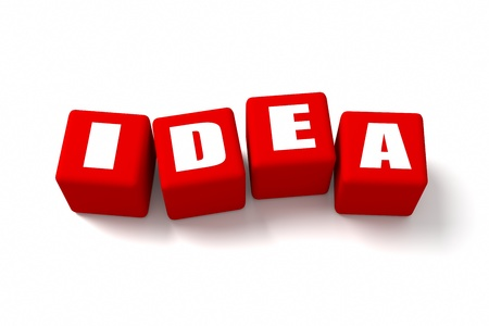 buzzwords: IDEA word on Red cubes Stock Photo