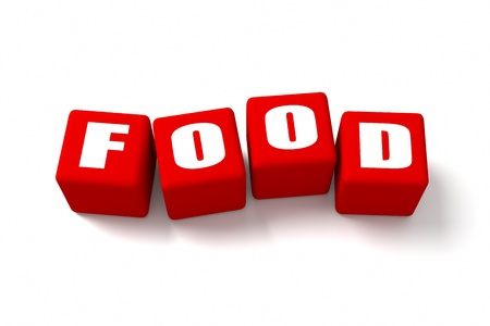 buzzwords: FOOD word on Red cubes