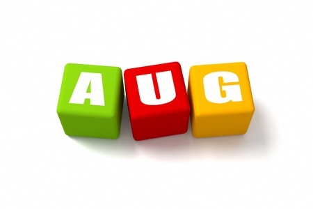 month 3d: August word on colored cubes Stock Photo