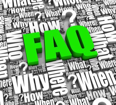signo de interrogaci�n: Grupo de palabras 3D de preguntas m�s frecuentes. Parte de una serie.