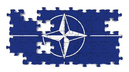 north atlantic treaty organization: Flag jigsaw puzzle with missing pieces.