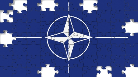 nato: Flag jigsaw puzzle with missing pieces.