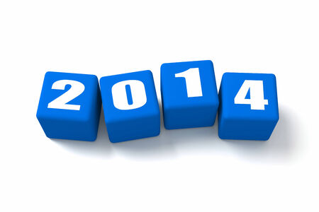 buzzwords: New Year 2014 Blue cubes. Part of a series. Stock Photo