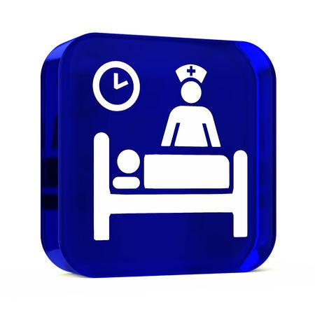 iconos: Icono del bot�n de cristal con la muestra blanca de atenci�n m�dica o s�mbolo