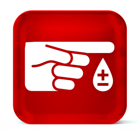 symbol: Glass button icon with white health care sign or symbol Stock Photo