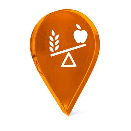 Glass GPS marker icon with white healthy food sign or symbol
