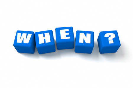 when: When? in Blue cubes Stock Photo