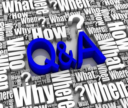 control de calidad: Grupo de Q&A de 3D de palabras relacionadas. Parte de una serie.