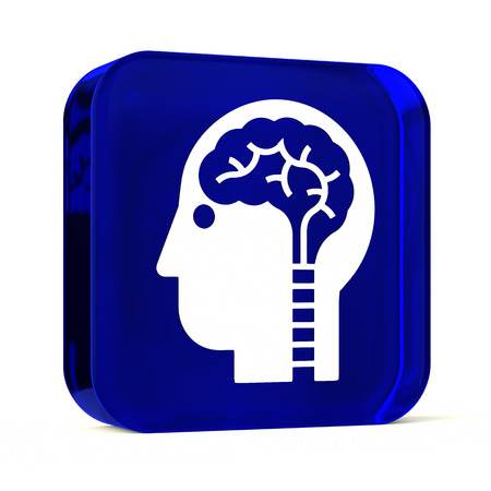 neuroscience: Glass button icon with white health care sign or symbol Stock Photo
