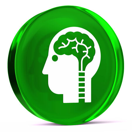 neuroscience: Round glass icon with white health care sign or symbol